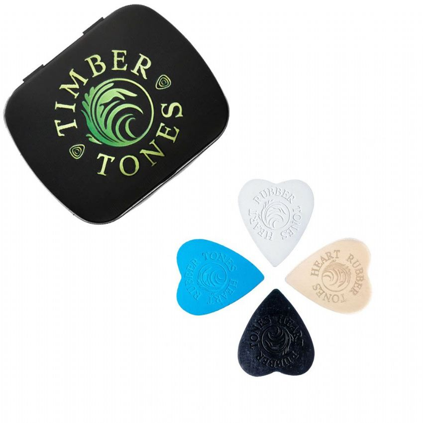 Rubber Tones Heart - Tin of 4 Picks | Timber Tones